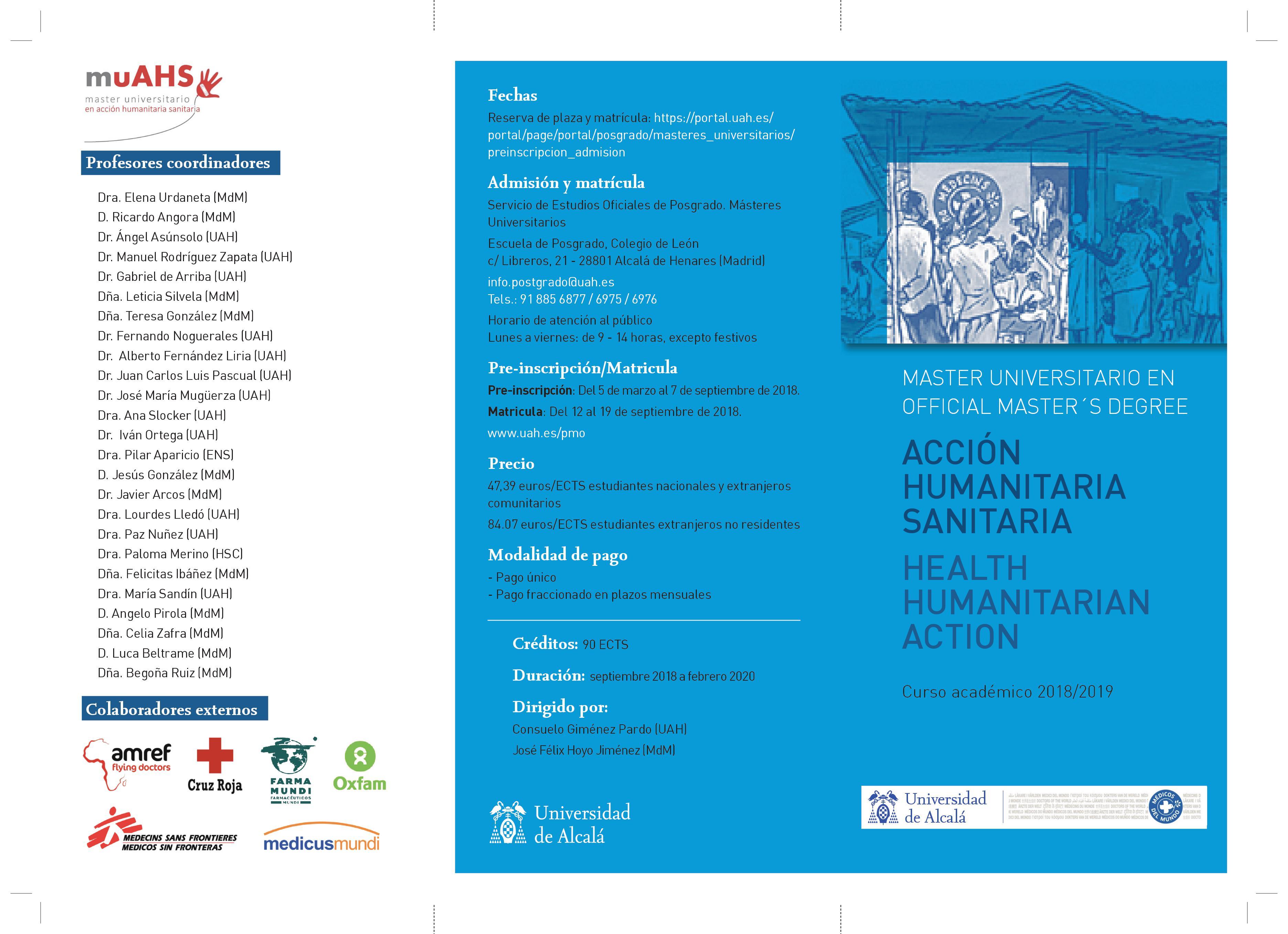 Uah Calendario Academico.Master Universitario En Accion Humanitaria Sanitaria En La