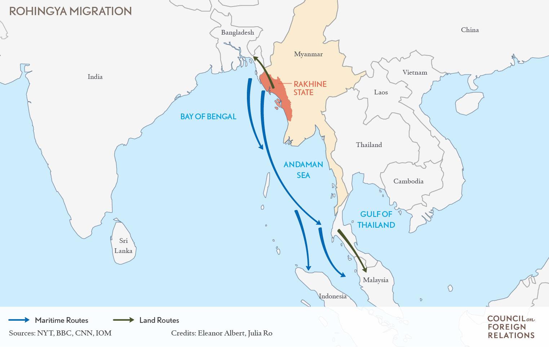 Mapa rutas migratorias del pueblo Rohingya