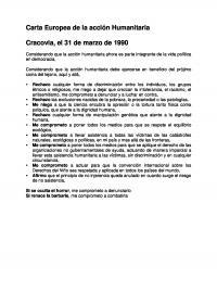Portada Carta Europea de Acción Humanitaria