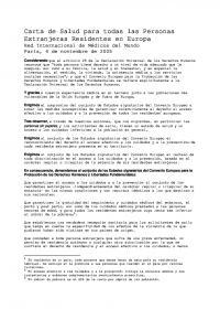 Portada Carta de Salud para todas las Personas Residentes en Europa