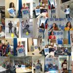 """Miembros del voluntariado de Médicos del Mundo Illes Balears animan a """"voluntarizarse"""" con carteles de """"Voluntarízate""""."""