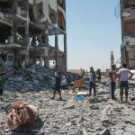 Edificios destruidos en Izbat el Hanoun, cerca de la frontera con Israel.