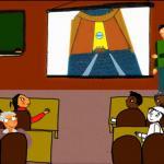 El protagonista del vídeo ofrece una charla sobre los Objetivos de Desarrollo del Milenio en la Universidad.