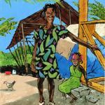 Una mujer haitiana permanece de pie junto a una niña que está sentada en un tablón.