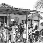 Pacientes esperan a ser atendidos en las inmediaciones del centro hospitalario en cuya fachada se ve el logotipo de Médecins du Monde.