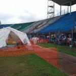 Zona de aislamiento ébola instalada por Médicos del Mundo en Estadio Nacional de Freetown