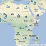 Mapa de África con marcadores en los países en los que la Red Internacional de Médicos del Mundo tiene proyectos.