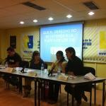 Portavoces de la campaña durante la rueda de prensa en el Consejo de la Juventud