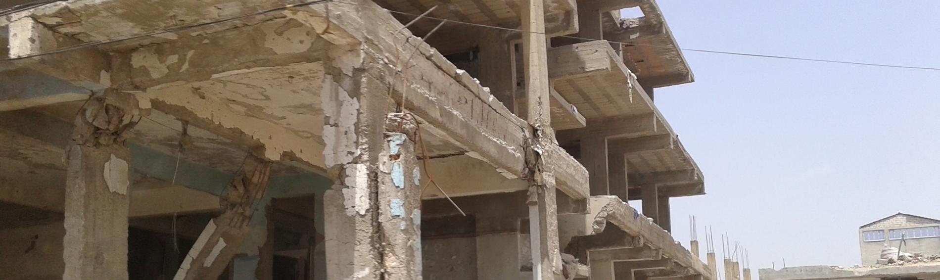 edificio afectado por la guerra en Siria