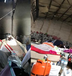 Condiciones de vida en un asentamiento de trabajadores migrantes en Albacete.