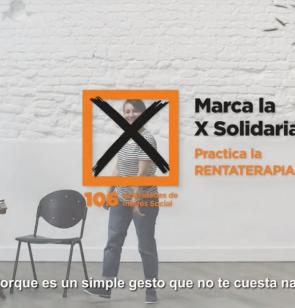 Cartel de la Campaña Marca la X Solidaria en la declaración de la Renta 2018,